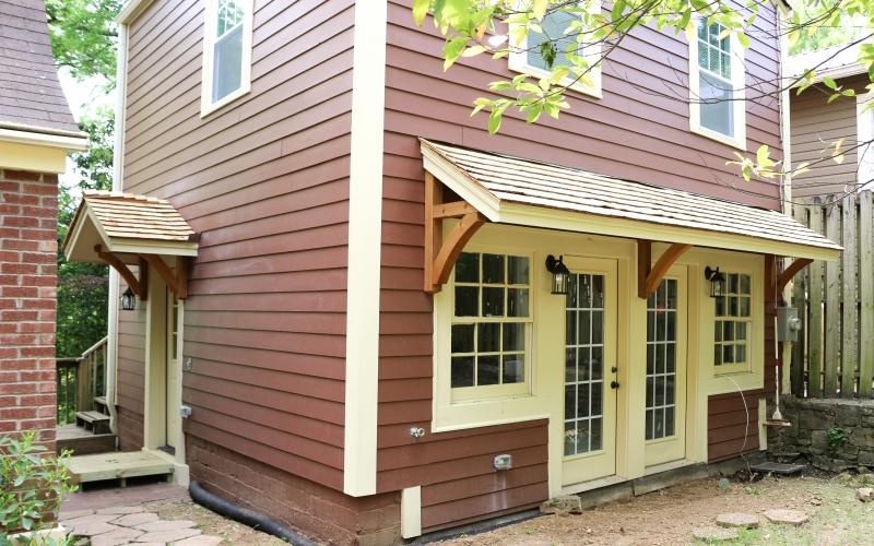 Cedar shingles and awning